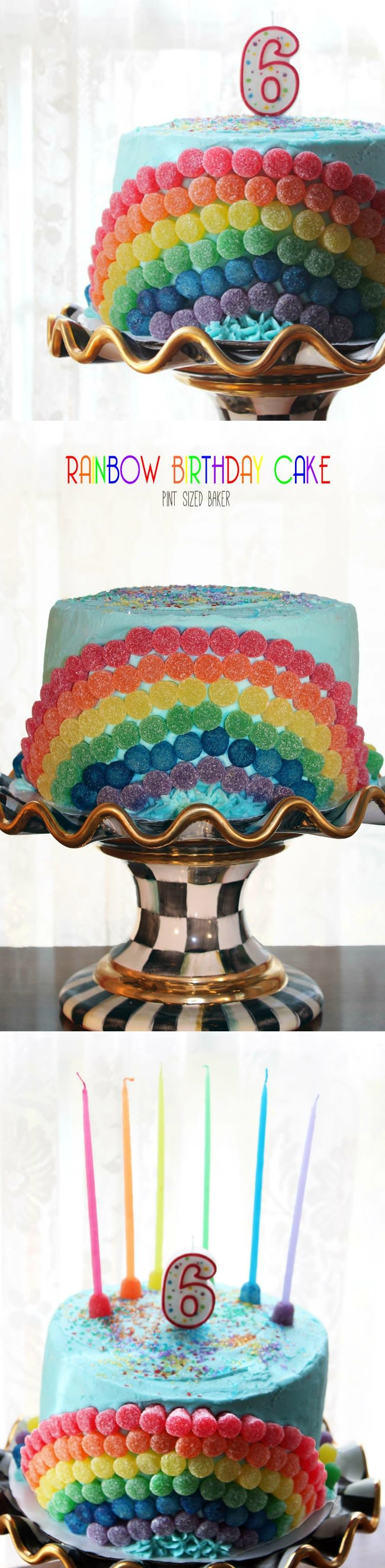 Creating a Rainbow Birthday Cake is fun to make, but it's even more exciting seeing the look on your kids face when you cut into it!