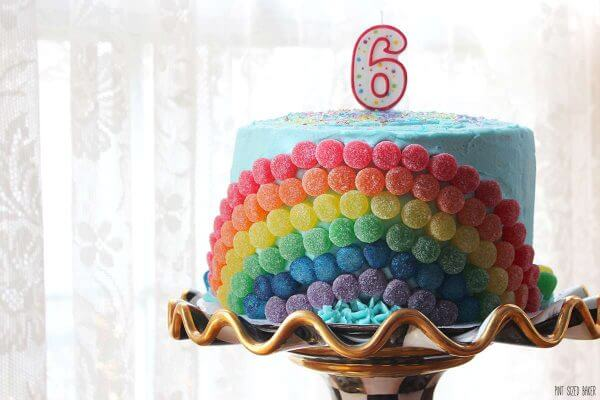 Turning 6 is a big deal - that's why I made a big rainbow birthday cake! Six layers of rainbow cake on the inside and six fun rainbow colors on the outside!