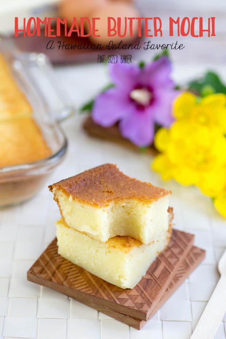 This Butter Mochi Recipe is a little taste of home. It is a favorite snack in the Hawaiian Islands and it's soft and full of yummy butter and coconut flavors.