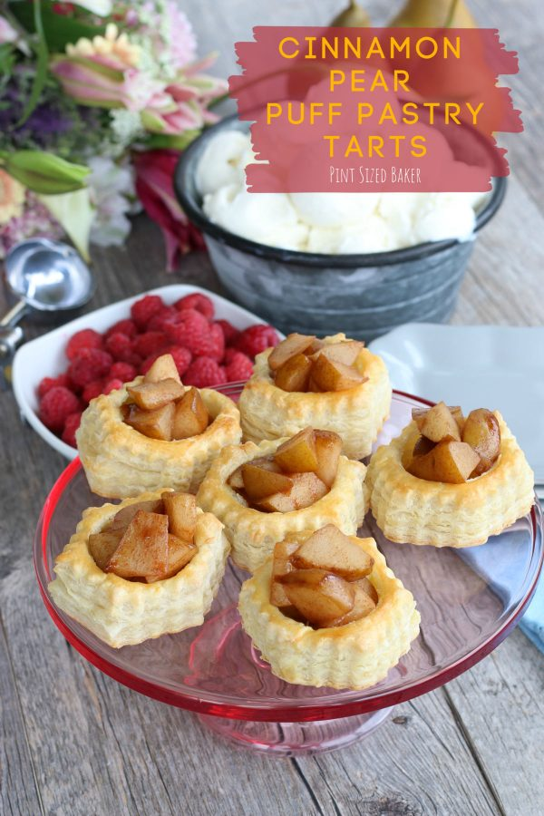 A classic Pear Puff Pastry Tart, crispy and flaky on the outside, soft and butter inside. Fresh flavors of pear, red raspberries along with sugar and cinnamon spices.