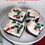 These Red Velvet Christmas Brownies are so good and perfect for a holiday party or get together! You can put any holiday topping on them!