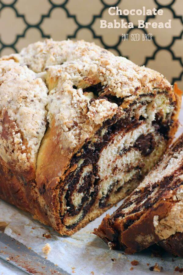 Chocolate Babka Bread is AMAZING!! Homemade bread filled with chocolate, swirled together and topped with a crumble topping! It's a baking wonder!