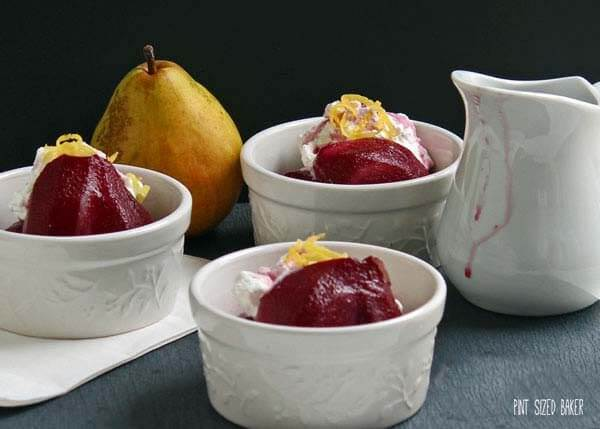 Serve these Red Wine Poached Pears with a scoop of ice cream or some whipped cream. They are so good!