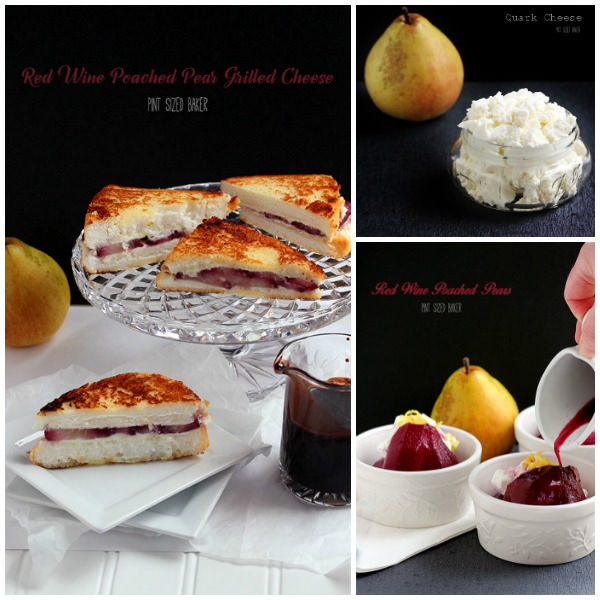 Homemade Quark Cheese, Red Wine Poached Pears, and some Angel Food Cake make a fantastic grilled cheese dessert.