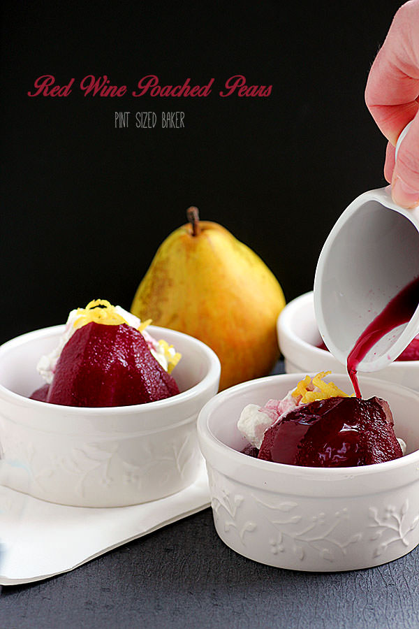 Red Wine Poached Pears.
