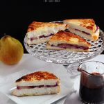 Red Wine Poached Pears with quark cheese and grilled on Angel Food Cake Slices. This is one awesome grilled cheese dessert.