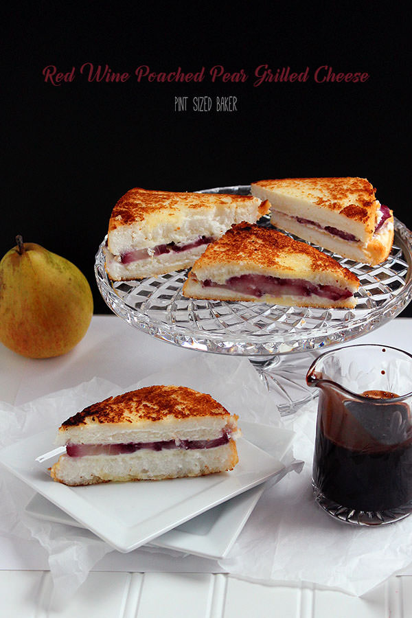 Everyone will enjoy these red wine poached pear grilled cheese sandwiches. Made with homemade Quark cheese, poached pears and served with chocolate sauce.
