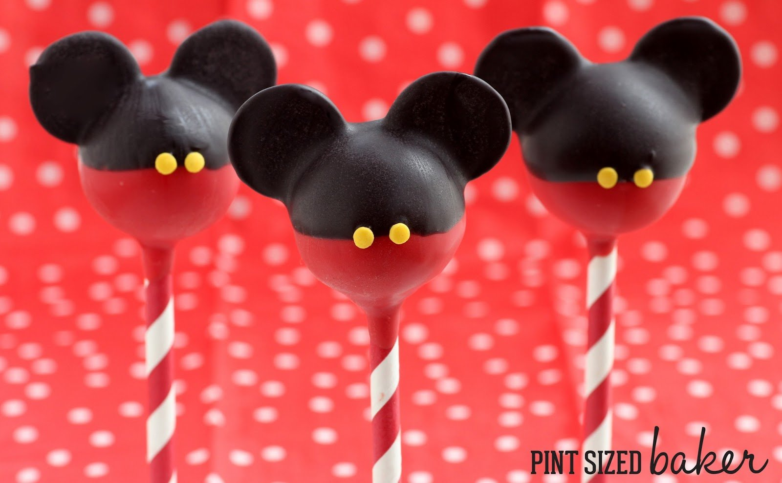 Mickey and Minnie Mouse Cake Pops - Pint Sized Baker