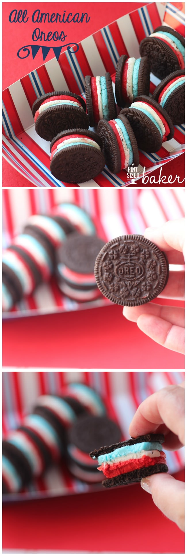 Grab the kids and three boxes or Oreo cookies to make these fun All American Oreos. Triple stuffed is the best way to enjoy Oreo Cookies!