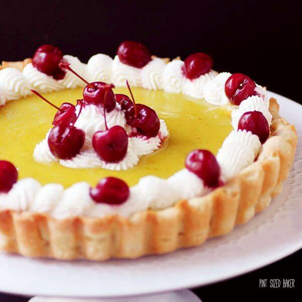A cherry lime tart that is for all citrus lovers. Lime curd, a lime crust and homemade maraschino cherries. Totally worth the work!