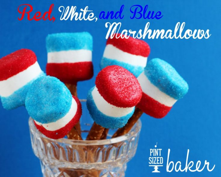 Red White and Blue Giant Marshmallows are perfect for summer celebrations!