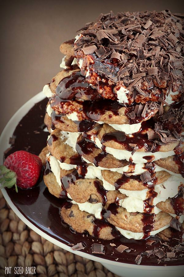 This cookie icebox cake is piled high and is so impressive.