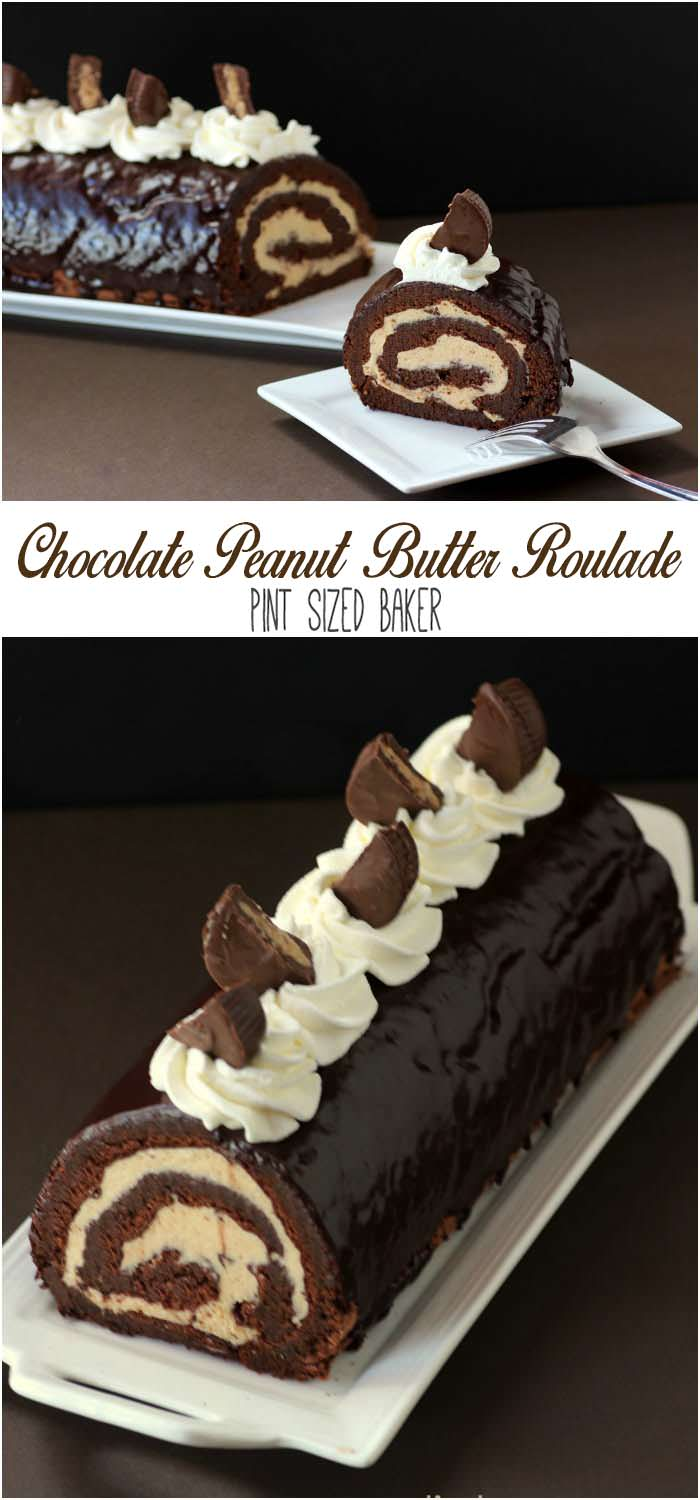 Chocolate and PEanut Butter Roll Cake Collage