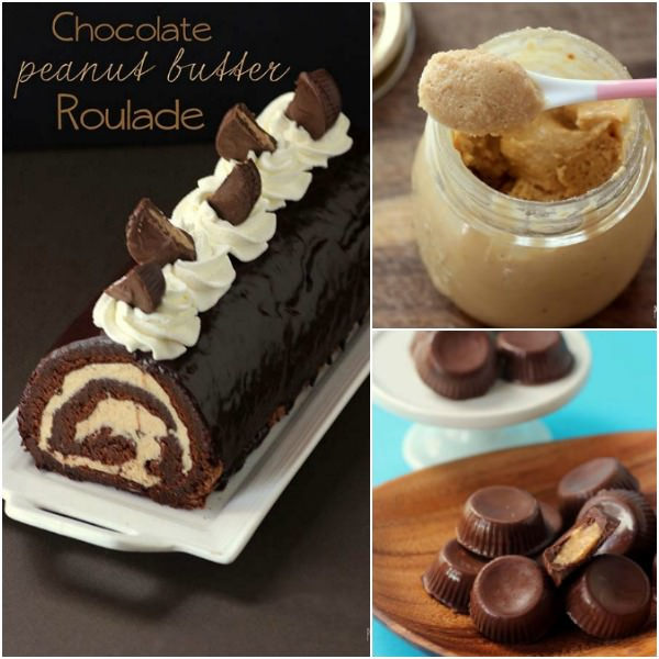 Homemade peanut butter, with homemade peanut butter cups and then used as a filling for this amazing chocolate peanut butter roulade.