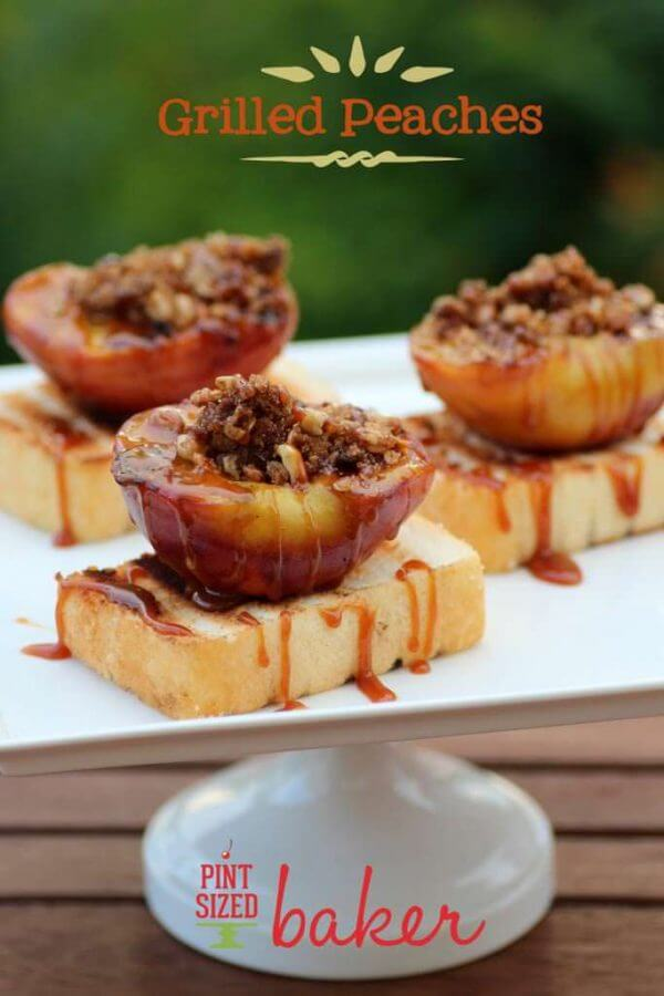 Grilled peaches on grilled Angel Food Cake and then drizzled in Caramel sauce. So perfect for a summer dessert!