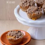 Sweet Peach Muffins with a great cobbler topping.