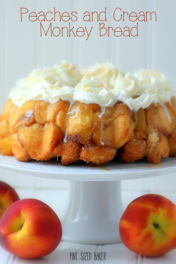 Peaches and Cream Monkey Bread Recipe! So yummy and perfect for your summer sleepovers!