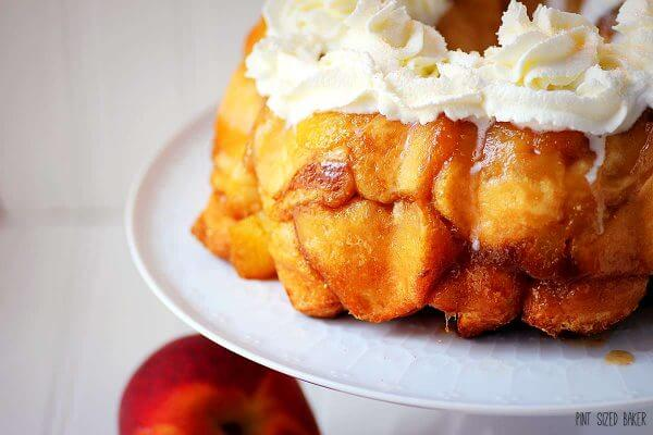 I'm making this Peaches and Cream Monkey Bread for breakfast and dessert! It's so good!