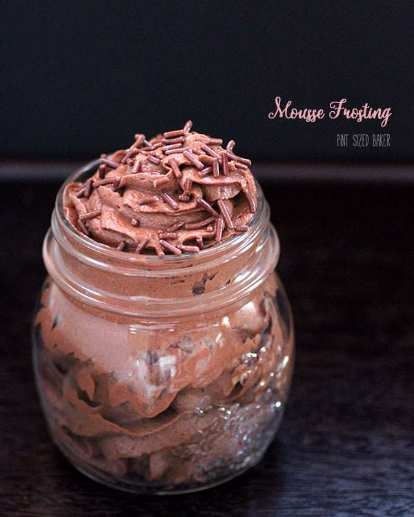 This Chocolate Mousse Frosting is light and fluffy, but is best when served on the same day.