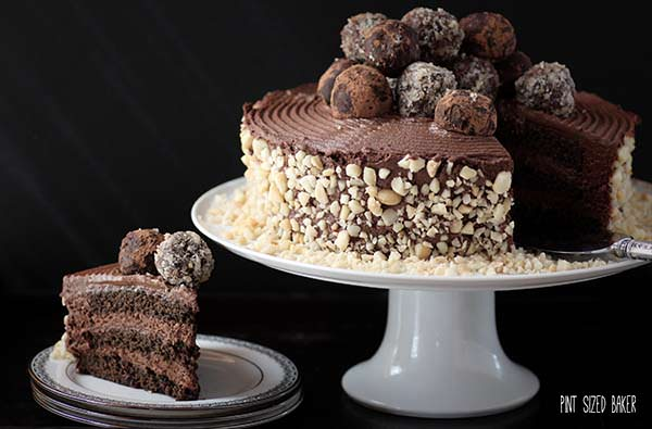 Triple layers of chocolate cake, chocolate mousse frosting, and chocolate truffles are perfect for a fancy birthday celebration.