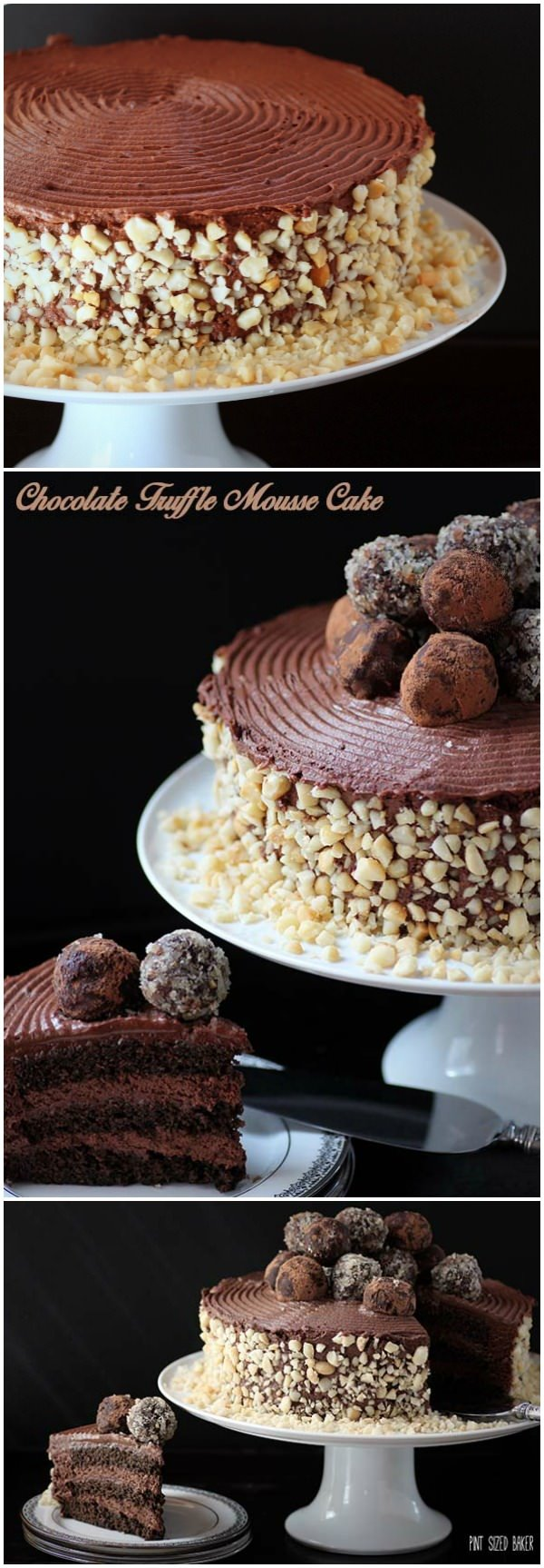 A Chocolate Lovers utopia. This chocolate mousse cake with truffles on top is just what the doctor ordered. It's perfect for a decadent dessert!