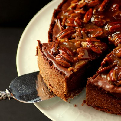 Chocolate Cheesecake with Praline Sauce