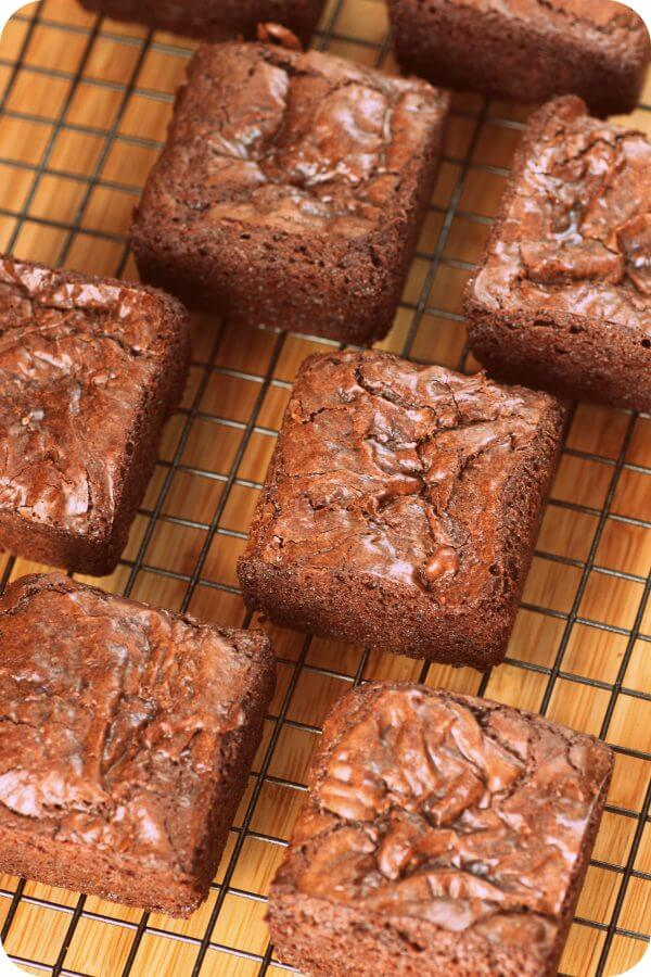Delicious brownies baked in a square pan for perfectly square slices.