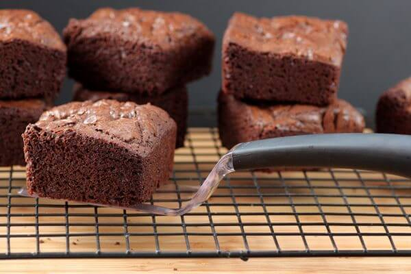I love these brownies - all edges and a crispy topping. The perfect bite of chocolate brownies.