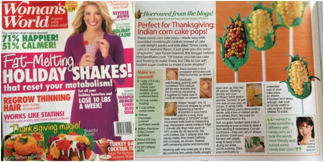 My Cake Pop Candy Corn as featured  in Woman's World Magazine in 2014