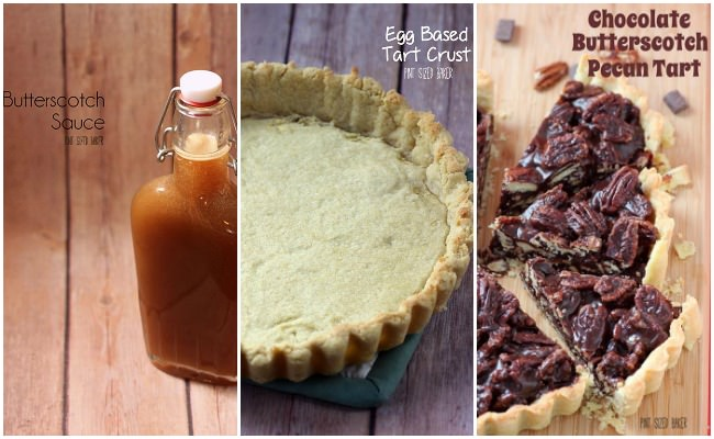 Three simple recipes for the best dessert! Homemade butterscotch sauce, an egg based tart crust and an easy chocolate butterscotch pecan filling! So good!!