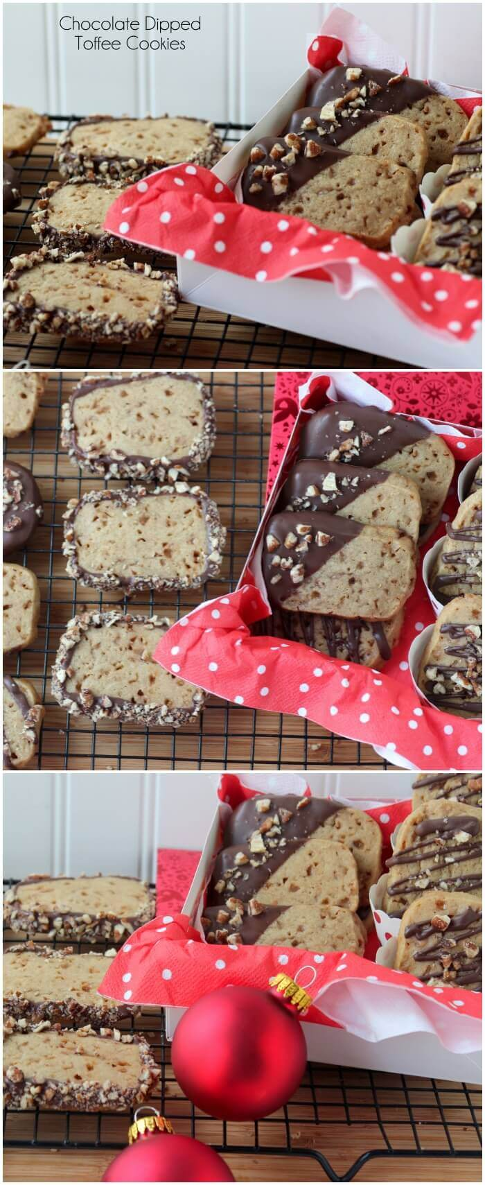 Slice and Bake Toffee Cookies are drizzled with chocolate and chopped almonds.