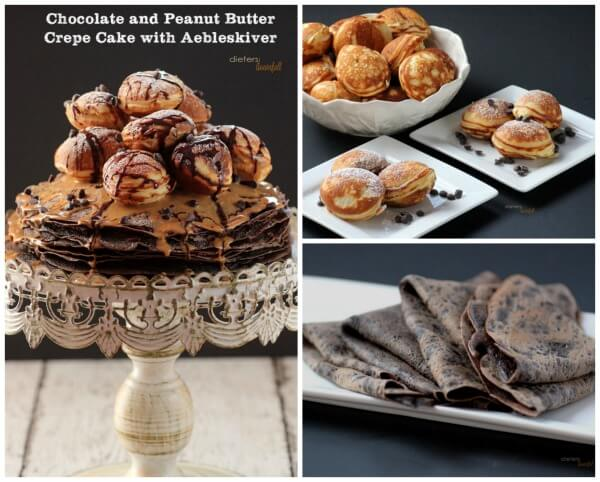Three Yummy Chocolate and Peanut Butter Recipes to make these Amazing Crepe Cake with Aebleskivers. from #dietersdownfall.com
