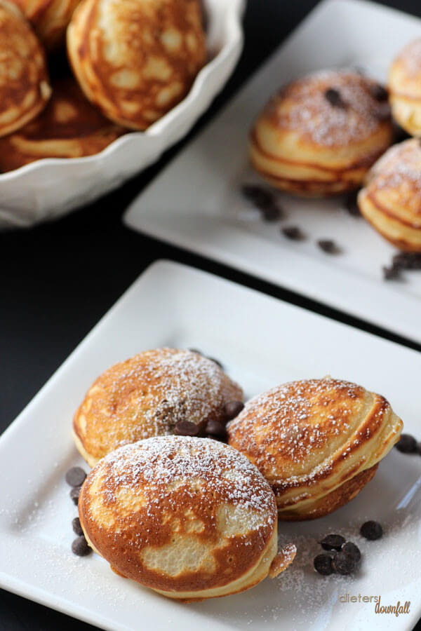 Little Pancake Puffs are usually filled with fruit. These are filled with mini Reese's PB cups! from #dietersdownfall.com