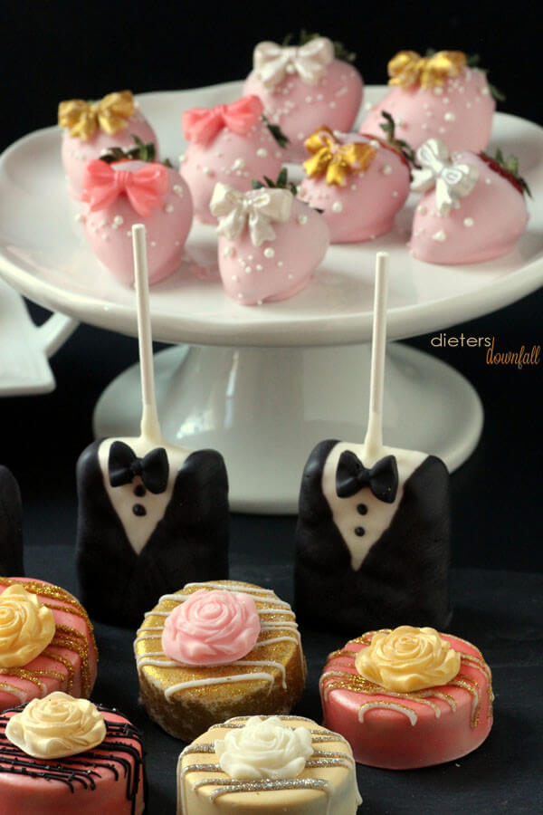 Strawberries, Rice Krispies, and Oreo's - All dressed up and ready for a party! from #dietersdownfall.com
