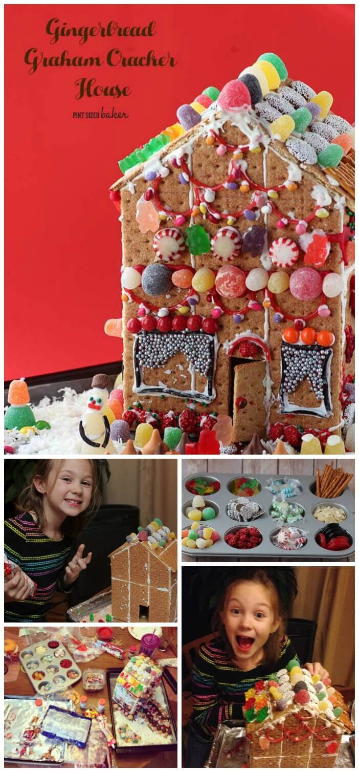 It takes a lot of candy, some patience, and the entire family to make a fun Gingerbread House out of graham crackers.