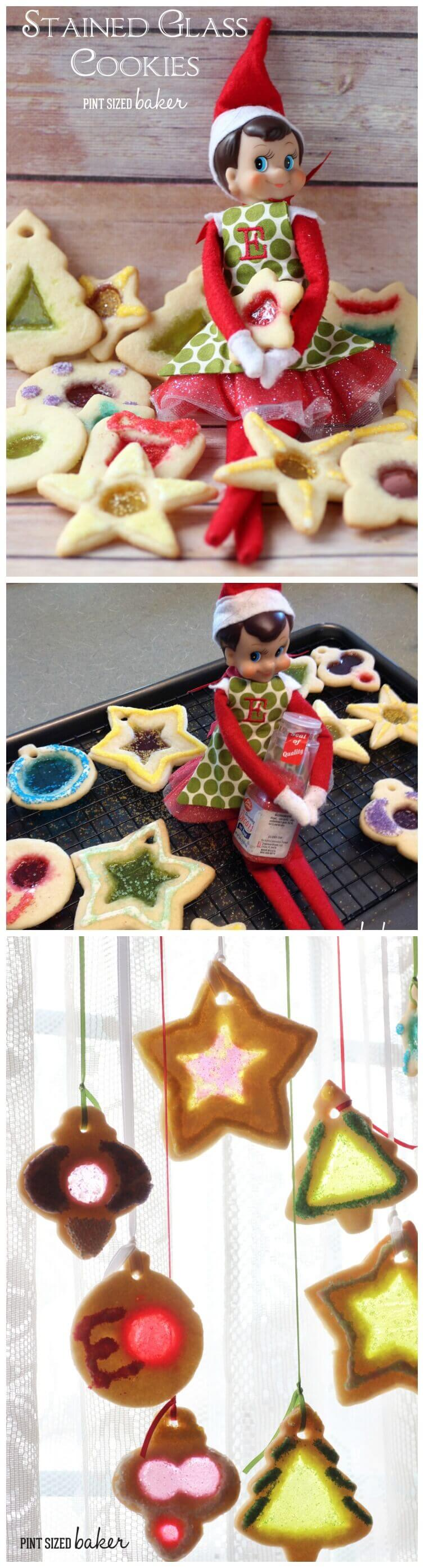 Stunning Stained Glass Christmas Cookies baked with our family Elf on the Shelf! Bake the cookies and hang them in window to show off all the colors.