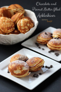 Chocolate Peanut Butter filled Aebleskiver is a decadent breakfast treat or a wonderful dessert! from #dietersdownfall.com