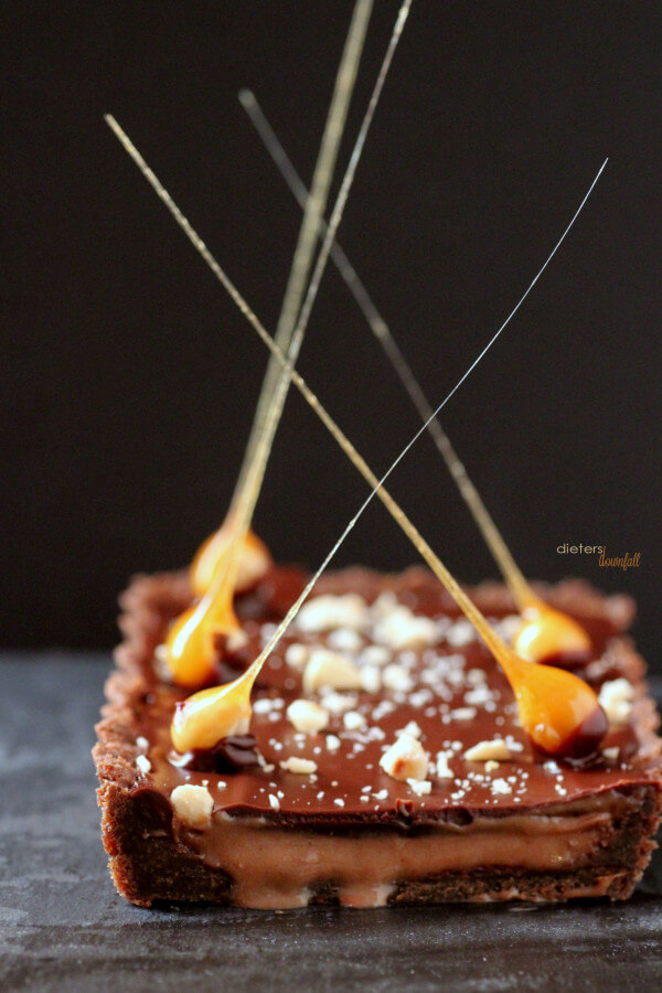 Why have a boring tart? Add some stunning Hazelnut Candy Spikes to bring some WOW to dessert. from #dietersdownfall.com