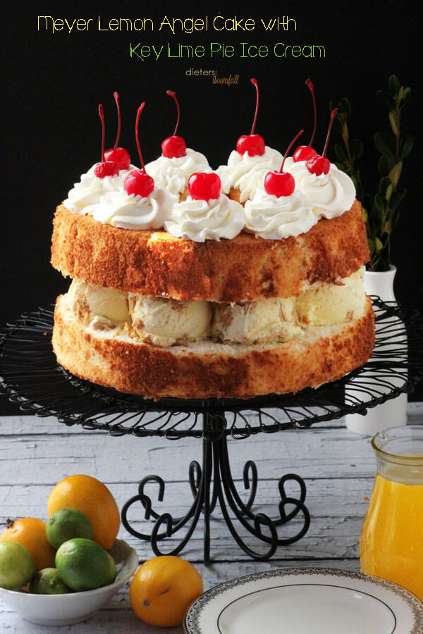Meyer Lemon Angle Food Cake with Key Lime Pie Ice Cream and Warm Lemon Sauce. from #dietersdownfall.com