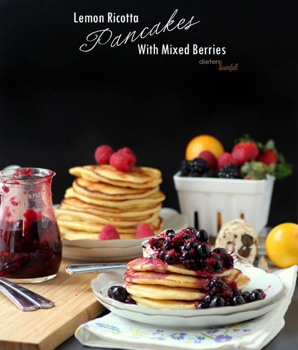 Lemon Ricotta Pancakes topped with Blueberry Butter and a Mixed Berry Compote. from #dietersdownfall.com