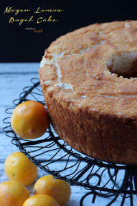 Meyer Lemon Angle Food Cake. Easier than you think to make at home and so delicious to eat. from #dietersdownfall.com