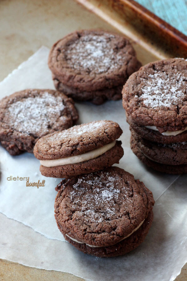 Chocolate Sandwich Cookies. A softer version of homemade Oreo cookies. from #dietersdownfall.com