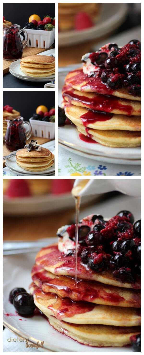 Enjoy the pancakes plain, with blueberry butter, with mixed berries and with maple syrup! from #dietersdownfall.com
