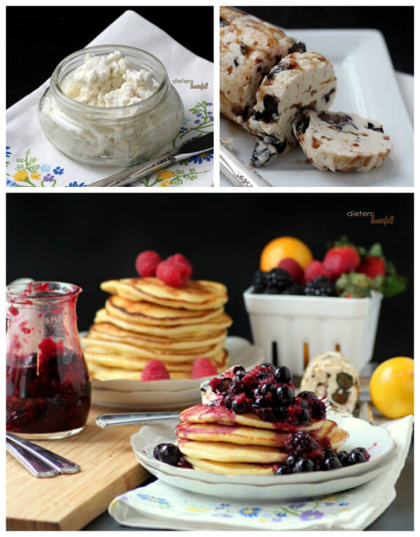 Homemade Ricotta Cheese, Blueberry Butter and Lemon Pancakes with mixed berries. You want to make these! from #dietersdownfall.com