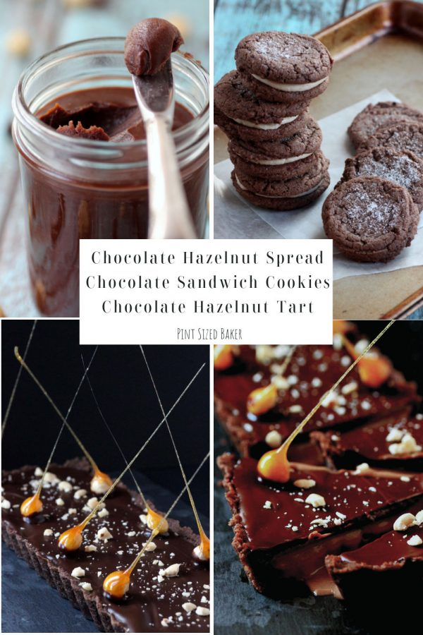 Collage image of the three recipes I combined to make a Chocolate Hazelnut Tart.