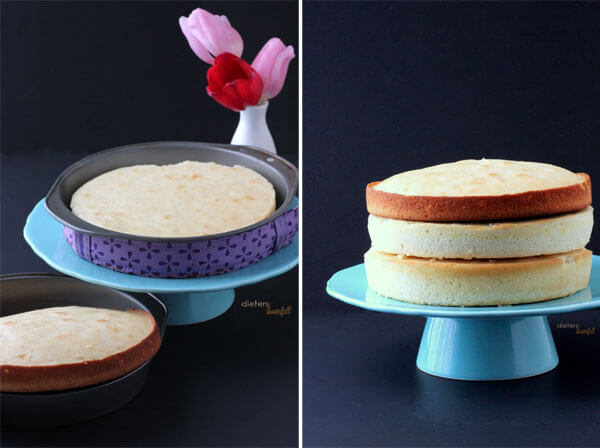 "The difference in cakes baked in a ""naked"" pan and cake baked using cake baking strips. Big difference. from #DietersDownfall.com"