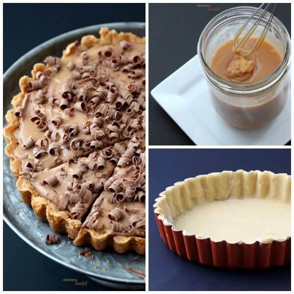 Soft Caramel, a tart crust and Whipped Mocha Mousse. The perfect recipes for an edible Caramel Mocha Frappuccino. from #dietersdownfall.com