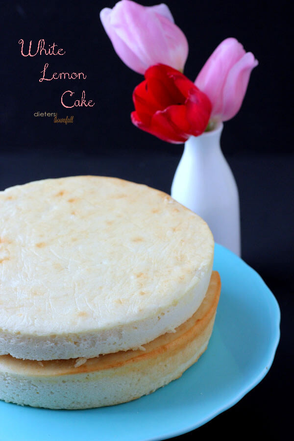 White Sponge Cake with a hint of Lemon mixed in. Recipe makes 3 layers. from #DietersDownfall.com