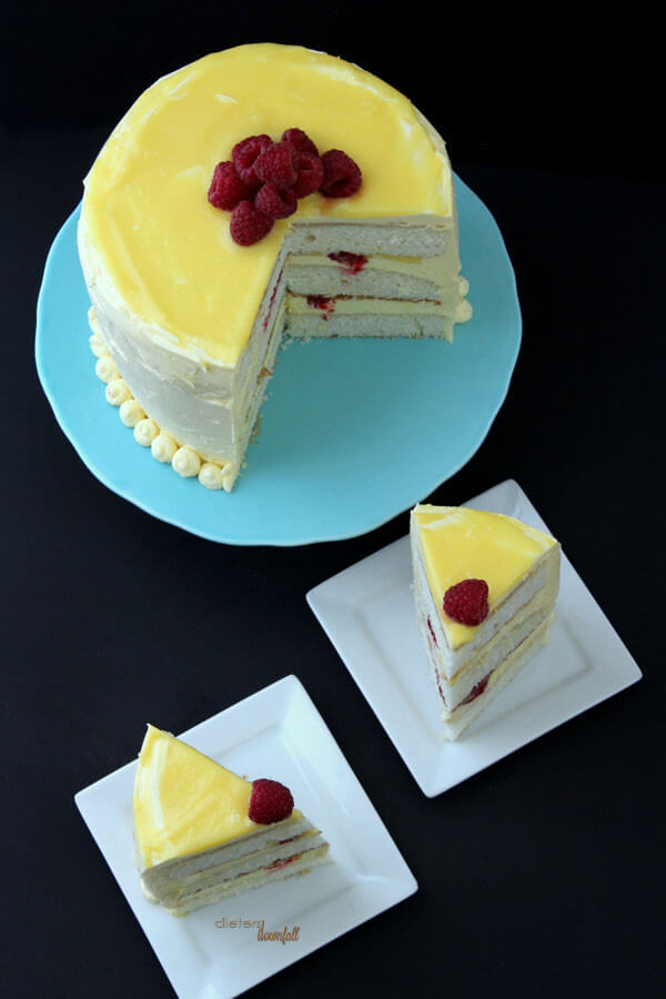 This yellow just makes me smile. Lemon and Raspberry Cake from #DietersDownfall.com