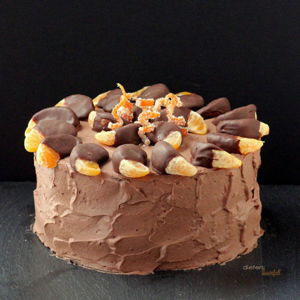 Orange and Chocolate Cake all dressed up and ready for a party! from #dietersdownfall.com